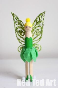 Tinkerbell Clothes Pin Doll - I made these for my little girl and she was in love. She ran off and made 10s of her own (simpler) version. We particularly fell in love with the wings and they are soooo easy to make!