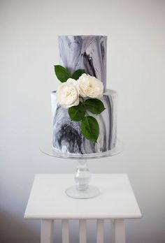 Modern Gray Marble Wedding Cake with Flowers | Brides.com