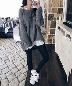 Outfits with leggings, legging outfits, leggings outfit winter, red Legging Outfits, Leggings Outfit Winter, Cute Outfits With Leggings, How To Wear Leggings, Sweaters And Leggings, Tops For Leggings, Sporty Outfits, Nike Outfits, Leggings Fashion
