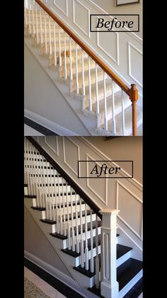 Report Exposes The Unanswered Questions On Staircase Remodel Stair R., Report Exposes The Unanswered Questions On Staircase Remodel Stair R. Redo Stairs, House Stairs, Stair Redo, Refinish Stairs, Black And White Stairs, Black Painted Stairs, Stair Banister, Banisters, Bedroom Decor