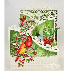 Woodlands Cardinals Foldout card made w/ Festive Holly collection from #HeartfeltCreations #Christmas