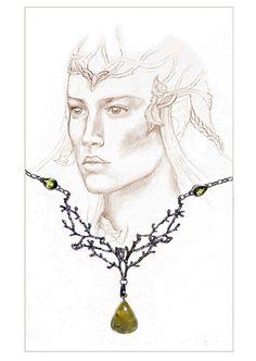 Elven necklace elf elven art romantic jewellery by JankaLart