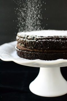 Rich, Dark Chocolate Brownie Layer Cake with Fudgy Peanut Butter Chocolate Frosting