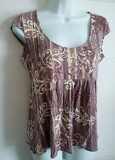 AXCESS BY LIZ CLAIBORNE PURPLE  FLORAL PRINT CAP SLEEVE TUNIC TOP SHIRT MEDIUM #Axcess #KnitTop