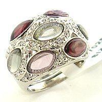 Purple Cubic Zirconia Amethyst Ring - Bezel CZ Platinum Plated - Green Accents - CZ