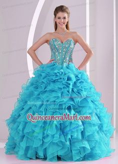 Turquoise Sweetheart Ruffles and Beading Quinceanera Gowns