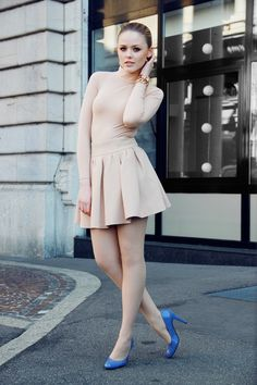 pastel blue pumps with nude dress