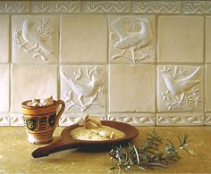 Hand made clay relief work Tiles