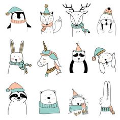 Discover thousands of copyright-free vector images. Graphic resources for the pr .- Discover thousands of copyright-free vector images. Graphic resources for private and commercial use. Funny Illustration, Illustrations, Digital Illustration, Tier Doodles, Animal Doodles, Floral Banners, Cute Animal Photos, Christmas Animals, Christmas Wallpaper