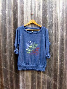 hunting for Mushrooms Slouchy Pullover, Mushroom Shirt, S.M,L,XL