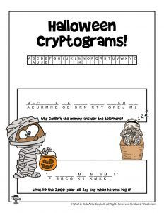 Halloween Cryptogram Word Puzzles | Woo! Jr. Kids Activities : Children's Publishing Halloween Riddles, Word Puzzles For Kids, Brain Teasers, Vocabulary, Activities For Kids, Ad Libs, Printable Puzzles For Kids, Color Puzzle, Crossword Puzzles