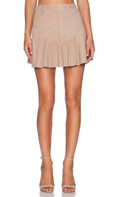 June Flaunty Suede Mini Skirt in Dust