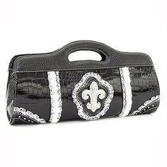 Patent Croco Clutch Purse Handbag with Fleur De Lis and Rhinestone Accents Black