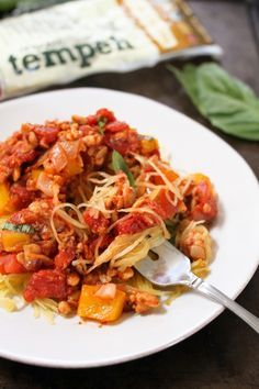 Tempeh Pasta Sauce over Spaghetti Squash : Plant Based Cooking : Lightlife