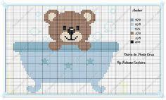 urso na banheira ponto cruz