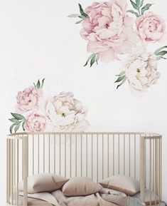 Peony Flowers Wall Sticker, Vintage Watercolor Peony Wall Stickers - Peel and Stick Removable Stickers Mural Floral, Flower Mural, Flower Wall Stickers, Flower Decals For Walls, Baby Room Design, Baby Room Decor, Nursery Decor, Wall Design, Wall Stickers Vintage