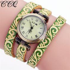 CCQ Brand Fashion Vintage Cow Leather Bracelet Watch Women Wrist Watch Casual Luxury Quartz Watch Relogio Feminino Gift C104