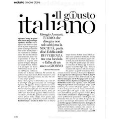 Marie Claire Italia Editorial Il g(i)usto italiano, August 2013 -... ❤ liked on Polyvore featuring text, articles, words, backgrounds, quotes, magazine, phrase, editorials and saying