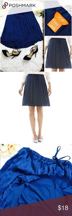 """Navy Pleated Draw String Pull On Skirt Joe Fresh fro JC Penney Pleated Navy Drawstring Skirt. Lined as shown in 3rd pic. Navy in color. Brightened photos for detail. Silky fabric in great condition. 100% polyester. Length 21"""". Waist 28"""". Joe Fresh Skirts"""