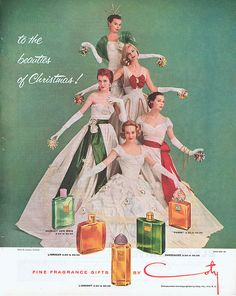 """My mother liked """"Muguet des Bois"""" in small doses, but thought Coty made cheap perfumes. Old Christmas, Retro Christmas, Vintage Christmas Cards, Vintage Holiday, Christmas Pictures, Vintage Cards, Vintage Postcards, Christmas Cheese, Christmas Scenes"""