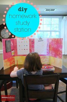 DIY Homework Study Station from MomAdvice.com.