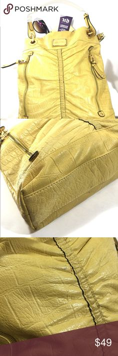 B. Makowsky Leather Shoulder Bag in Yellow Great condition. A few tiny spots. Some wear on bottom. Interior is in good condition. b. makowsky Bags Shoulder Bags