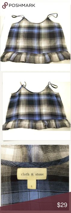 "Cloth & Stone L Blue Plaid Cami Top NWOT Cloth & Stone L Blue Gray Plaid Ruffle Baby Doll Brushed Rayon Tank Top NEW NWOT  Very soft brushed 100% rayon fabric. Machine wash cold, tumble dry low.  - 20.5"" armpit to armpit. - 24"" from top of strap to hem. Cloth + Stone Tops Camisoles"
