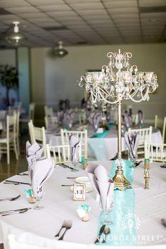 Chandelier centerpiece for wedding reception