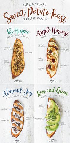 Breakfast Sweet Potato Toast Four Different Ways!!