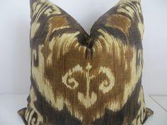 2 Pillow Covers,Ikat pillow cover, 20x20 Pillow, Brown Pillow, Ikat Pillow…