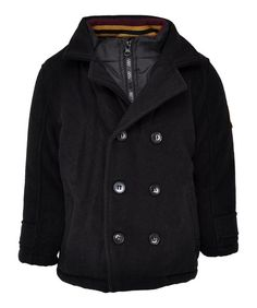 Boys Babies Chainstore Black Docker Style Pea Jacket Winter Coat