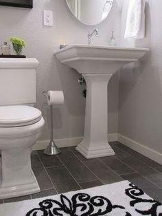 grey bathroom floor…never dates, dark grey! (I LOVE this! ~TH) | Home DIY Center