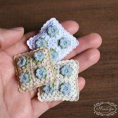Miniature crochet pillow with little blue flowers Dollhouse
