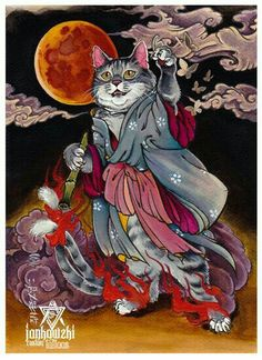 japanese tattoos symbols and meaning Asian Cat, Oriental Cat, Japanese Folklore, Japanese Cat, Asian Tattoos, Japan Tattoo, Illustration Art, Illustrations, Japan Art