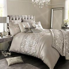 Kylie Minogue Helene Nude Bed Linen Range - House of Fraser Bed Bath & Beyond, Glam Bedroom, Home Bedroom, Bedroom Decor, Kylie Minogue At Home, Kyle Minogue, Luxury Bedding Collections, Home Comforts, Luxurious Bedrooms