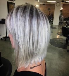 Blonde lob with shadow root
