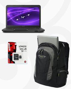 Combo Tech Navideño: Laptop Toshiba + Memoria Kingston micro sd 16Gb + Mochila Targus