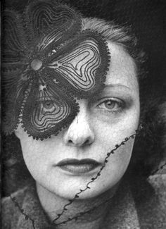 Woman Wearing a Veil with Flower Pattern Photo by Alfred Eisenstaedt