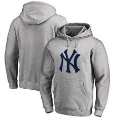 New York Yankees Fanatics Branded Primary Logo Pullover Hoodie - Heathered Gray