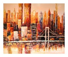 SALE Modern Abstract Painting Modern Abstract Cityscape Painting Modern Cityscape Art Texture Modern Painting Abstract City Painting 20x24''...