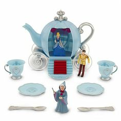 Cinderella Tea Set Play 10 Piece by DISNEY. $38.75. Cinderella, Prince Charming and Fairy Godmother figures. plastic, satin ballgown skirt. Figures up to 31/2'' H. Teapot 7 1/2'' H x 9'' W x 5''D. age 3+. Imported. Side of teapot opens for figure play and easy storage for all pieces Real rolling wheels  Set Includes:  Cinderella, Prince Charming and Fairy Godmother figures Pumpkin Coach teapot 2 teacups 2 saucers 2 spoons  The bare necessities  Ages 3+ Plastic Satin ballgown sk...