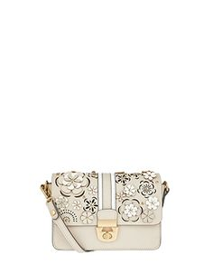 e0974b9f924f Layered up flowers and cool laser cut-outs give this cross-body bag its wow-factor.  Secured with a glossy metal lock