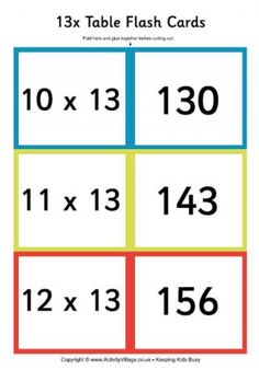 Times Tables Flash Cards...FREE! This site has SEVERAL ...