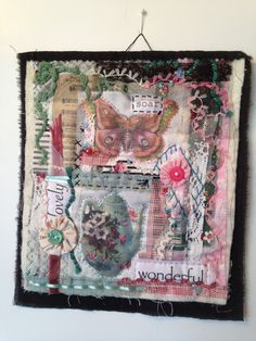 Mini art quilt, art quilt, mini quilt, fabric collage, textile art, fabric assembly, embroidery, vintage fabric, fabric art