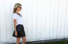 white t shirt and leather Tiaras and Heels blog