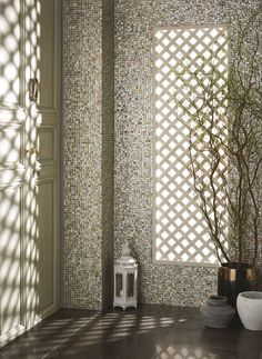 Gold Pearl mosaics are made from natural shells and are available in brick or square format. These tiles feature a warm, golden hue. originalstyle.com