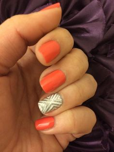 Coral mani with white and silver glitter accent nail