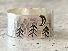 Silver Rings Handmade, Sterling Silver Rings, Handmade Jewelry, Hand Stamped Jewelry, Rings For Her, Forest Theme, Jewelry Making, Ankle, Processing Time