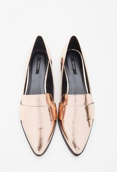 The Best Trendy Loafers for Women - Faux leather gold pointed loafers; $24.90 at www.forever21.com/?utm_content=buffer18ff7&utm_medium=social&utm_source=pinterest.com&utm_campaign=buffer