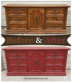 Dresser in distressed Barn Red with Black Glaze.Original Vintage pulls. Read more about the Before & After on our DIY Blog.